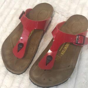 Birkenstock size 41 Gizeh red sandals